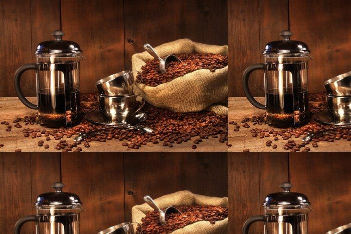 Tapeta Pixerstick Pytel kávových zrn s francouzským tiskem - Témata