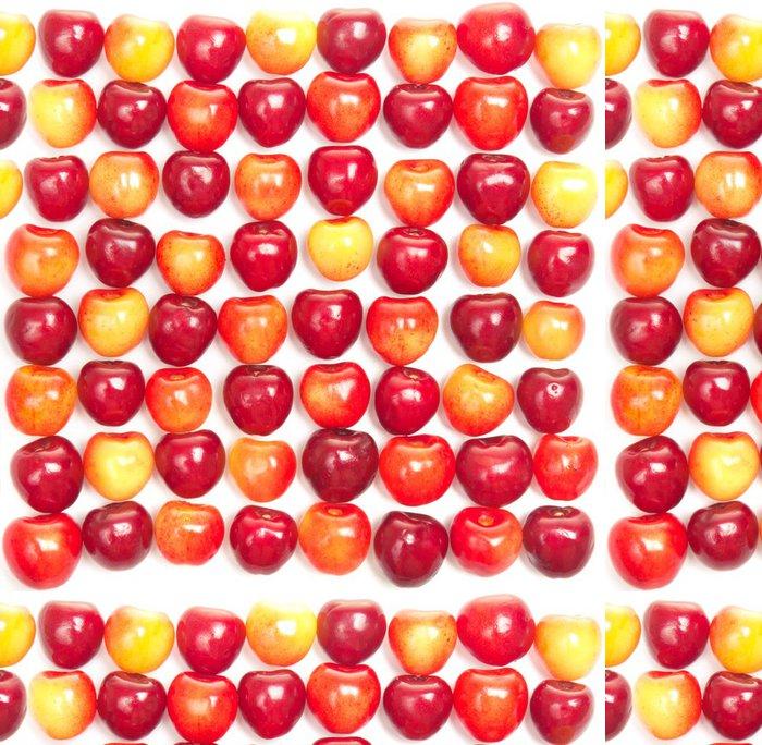 Tapeta Pixerstick Řady červených a žlutých třešní na bílé - Témata