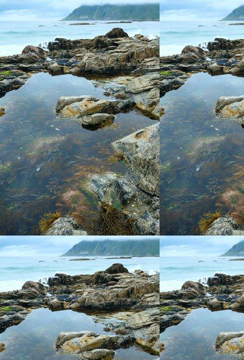 Tapeta Pixerstick Ramberg plážové letní přeháňky pohled (Norsko, Lofoten). - Roční období