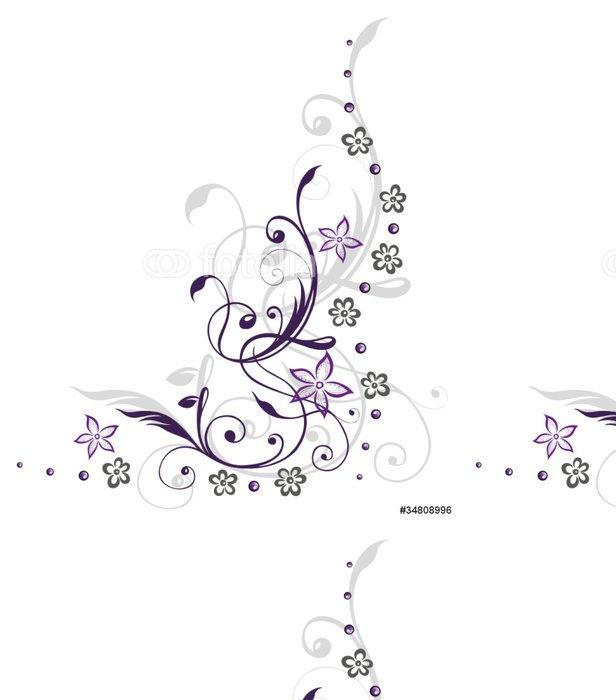 Tapeta Pixerstick Ranke, flóry, Blumen, Blüten, filigránové, fialová, grau - Nálepka na stěny