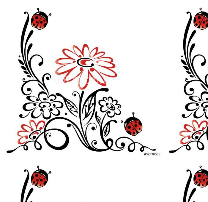 Vinylová Tapeta Ranke, flóry, kytkou, kytky, beruška, červená, černá - Ostatní Ostatní