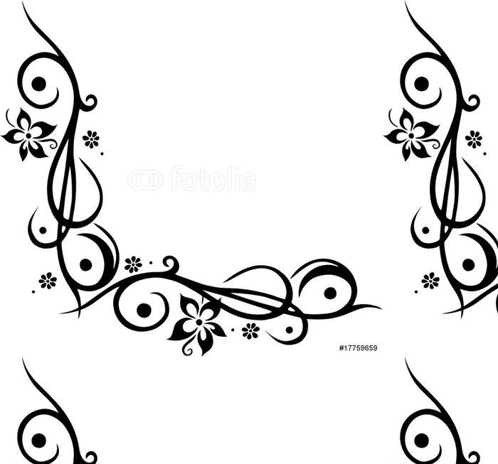 Tapeta Pixerstick Ranke, květinový, okrasa, mit Blumen, blüten, Tattoo Style - Květiny