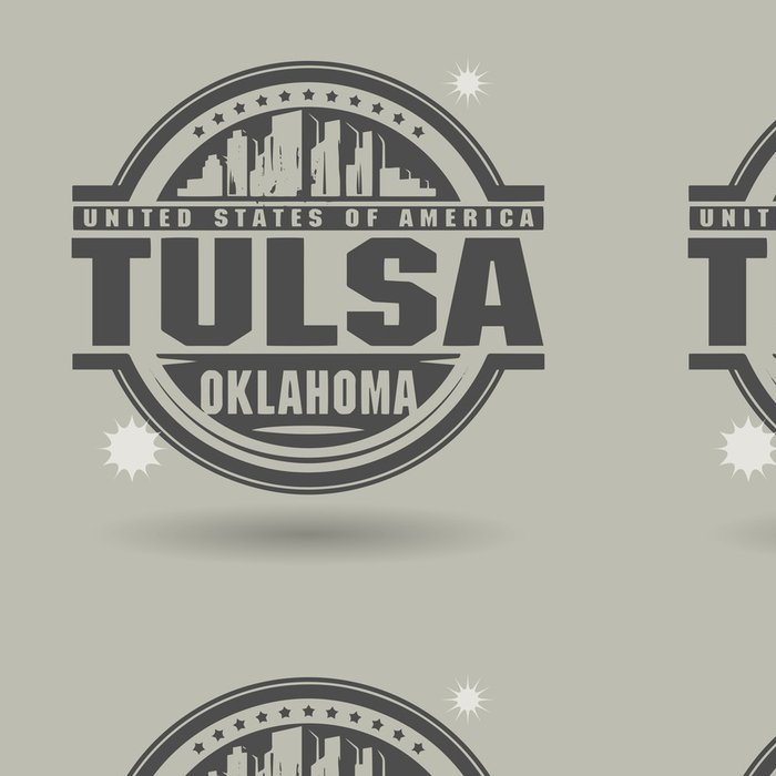 Tapeta Pixerstick Razítko nebo štítek s textem Tulsa, Oklahoma uvnitř - Amerika