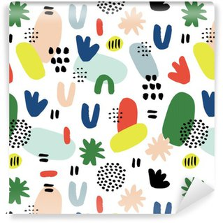 Tapeta Pixerstick Ręcznie rysowane bez szwu deseń w nowoczesnym stylu. Projektowanie dla plakatu, kartki, zaproszenia, afisz, broszury, ulotki, włókienniczym.