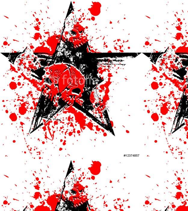 Tapeta Pixerstick Red Black lebka hvězda - Ezoterika