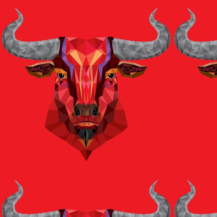 Tapeta Pixerstick Red Bull hlava s geometrickým pattern- vektorové ilustrace - Savci