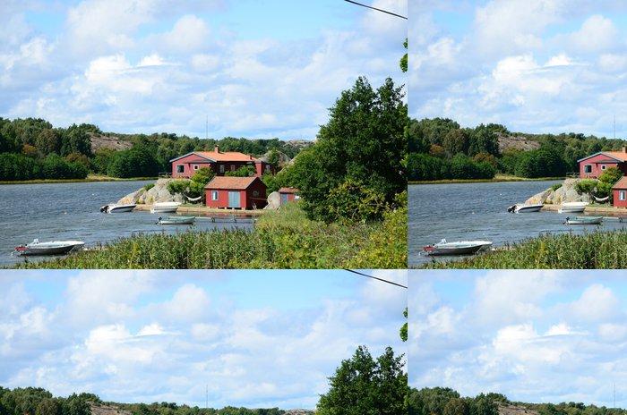Tapeta Pixerstick Red Domy u moře (Švédsko) - Evropa