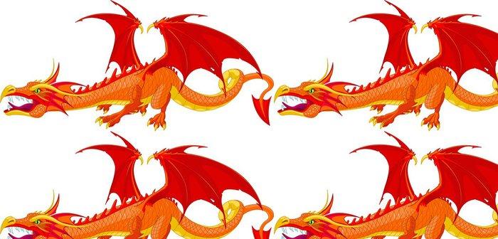 Vinylová Tapeta Red Dragon - Nálepka na stěny