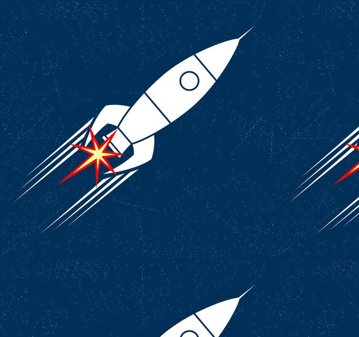 Vinylová Tapeta Retro Rocket - Meziplanetární prostor
