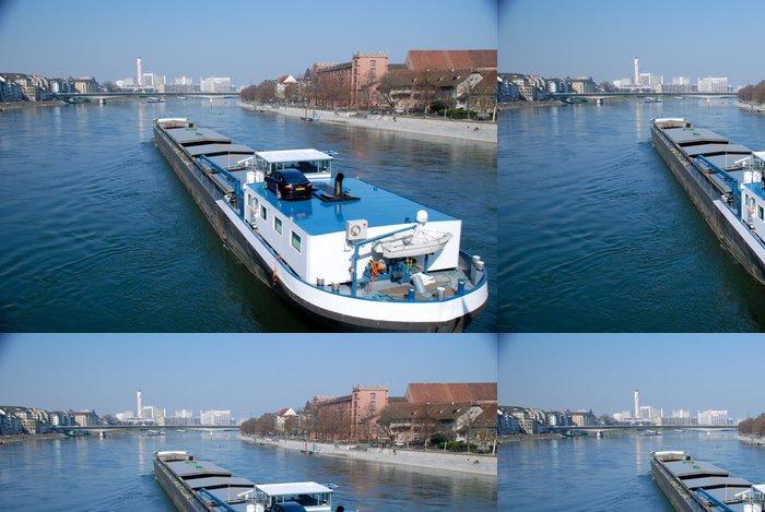Tapeta Pixerstick Říční doprava na Rýně, Basilej - Těžký průmysl