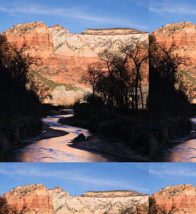 Tapeta Pixerstick Říčních toků Sunrise Glow Rocky Butte Národní park Zion - Amerika