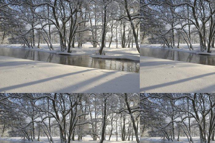 Tapeta Pixerstick River Nybroån orámovaný zimní krajině - Voda