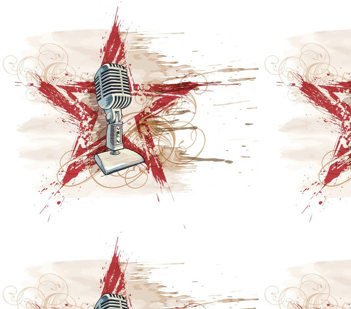 Vinylová Tapeta Rocková hvězda. Mikrofon, grunge akvarel star & květinový ornament - Hudba