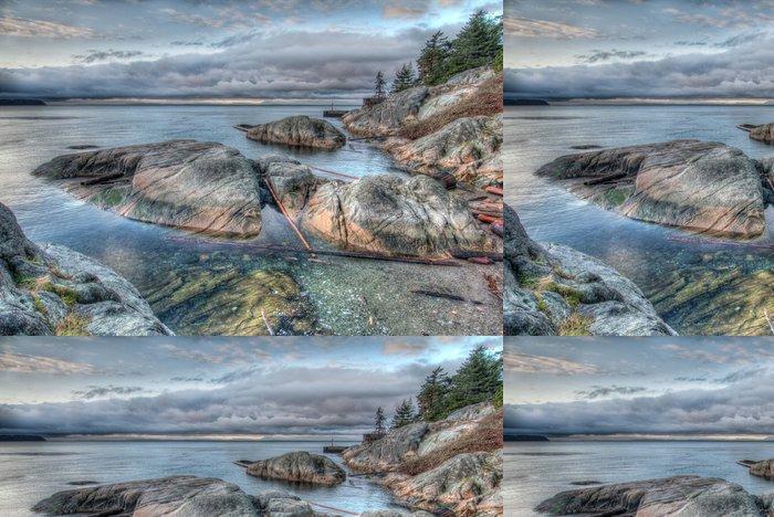 Tapeta Pixerstick Rocky Shoreline ráno Grey - Amerika