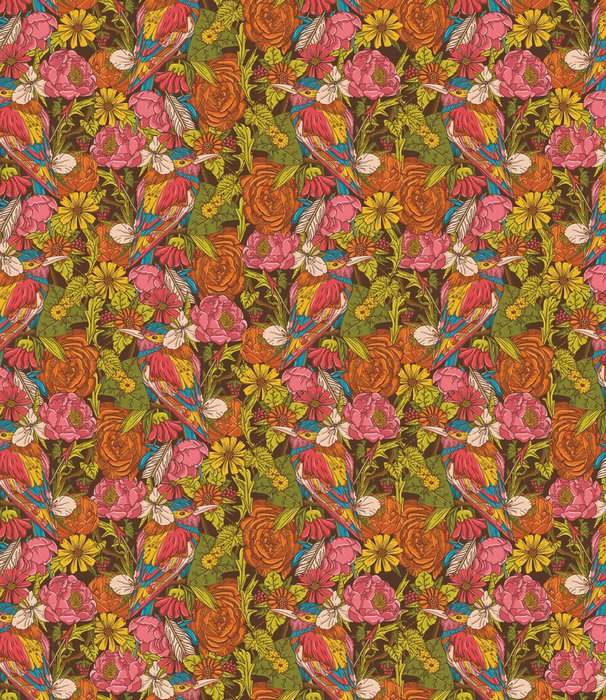 Tapeta Pixerstick Ročník květinové bezešvé vzor s kolibříka - Pozadí