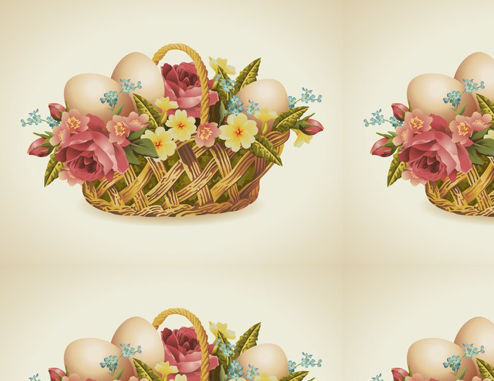 Tapeta Pixerstick Ročník velikonoční koš s květinami a velikonoční vajíčka- - Mezinárodní svátky