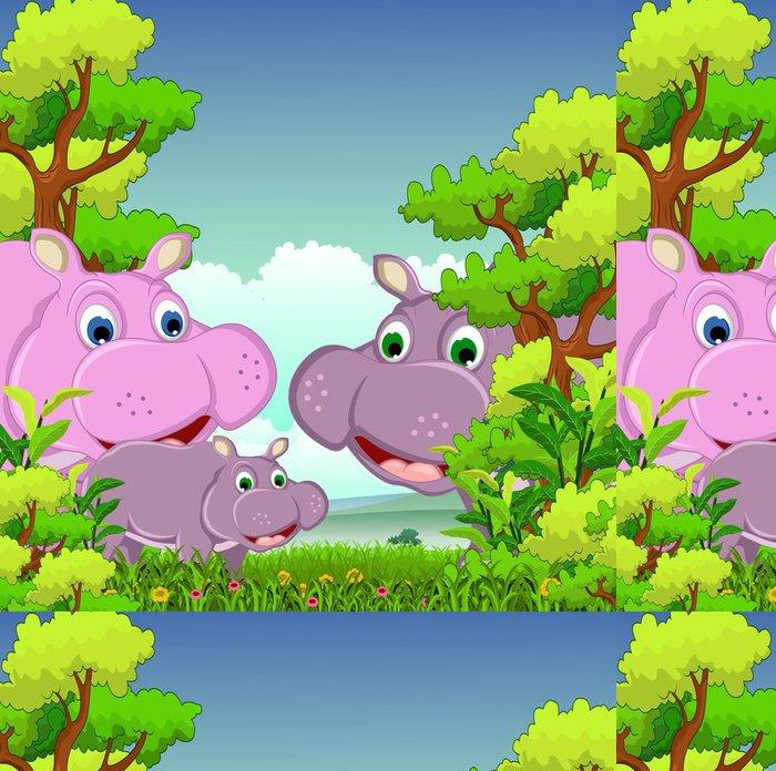 Tapeta Pixerstick Rodina kreslený hroch s lesním pozadí - Savci
