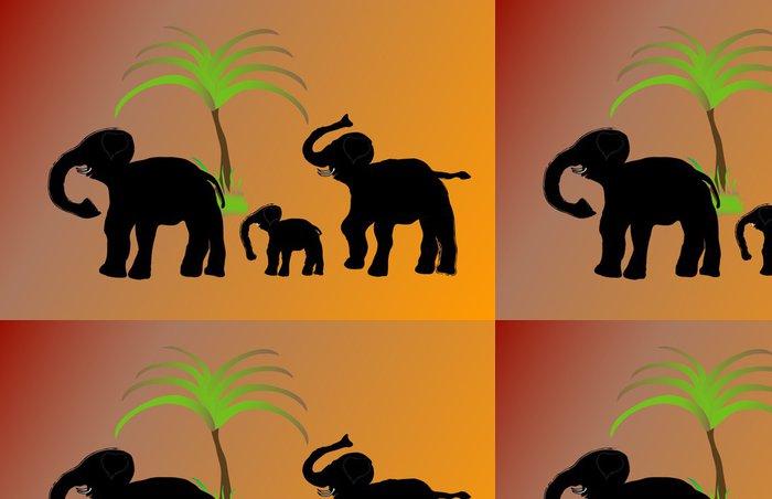 Tapeta Pixerstick Rodina slonů v poušti, pozadí - Savci