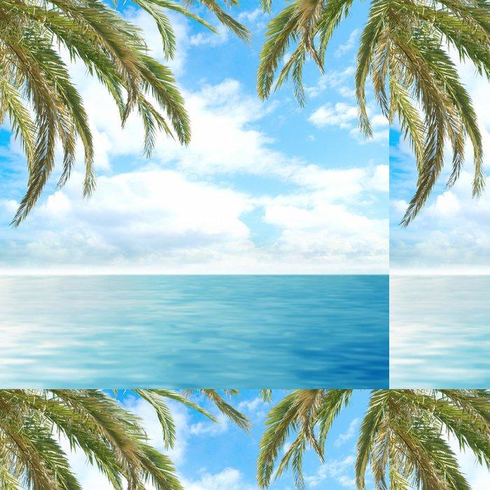 Tapeta Pixerstick Romantické tropické výhled na hluboké modré moře s palmami - Stromy