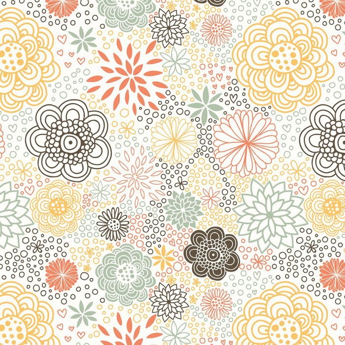 Tapeta Pixerstick Romantický bezproblémové květinový vzor - Květiny