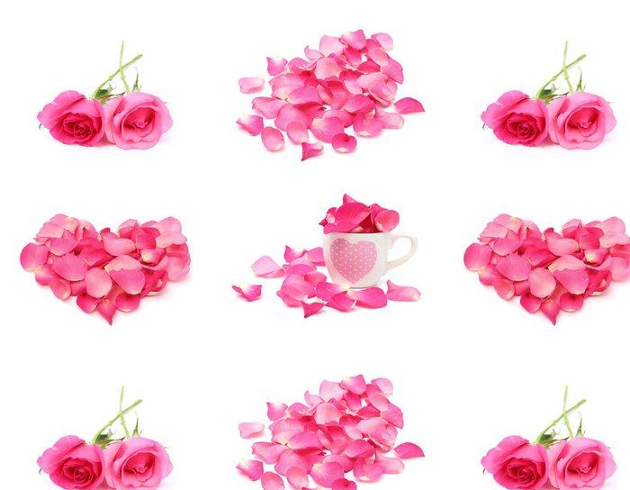 Tapeta Pixerstick Rose a okvětní lístek izolovaných na bílém pozadí - Štěstí