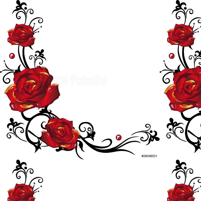 Vinylová Tapeta Rose, Rosen, Ranke, zlatá, červená, Blumen, Blüten - Rostliny a květiny