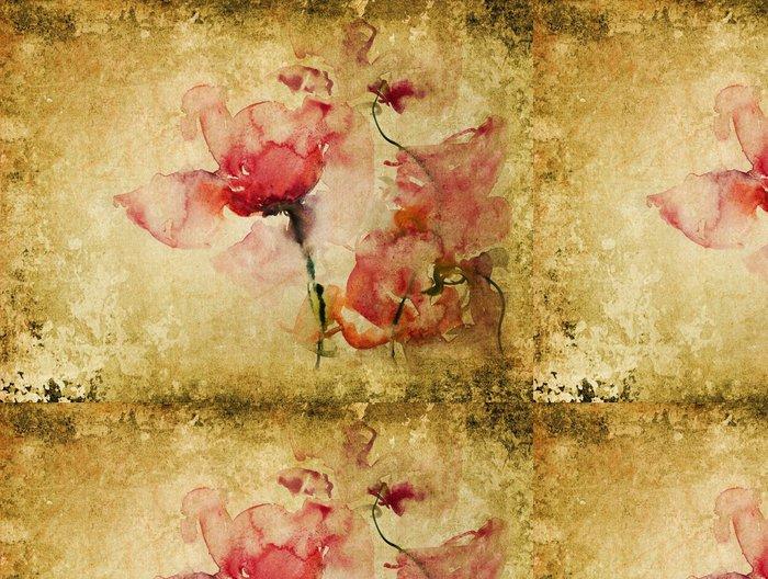 Tapeta Pixerstick Rosen Aquarell Pergament retro - Květiny