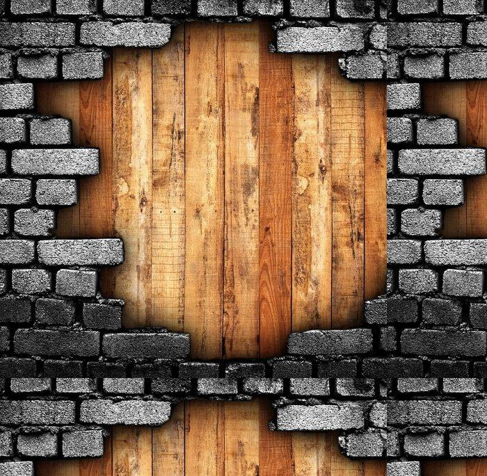 Tapeta Pixerstick Rozbité stěny s dřevěným pozadím - iStaging