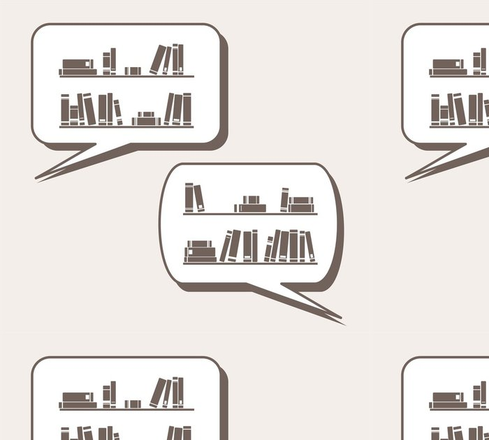 Tapeta Pixerstick Rozhovor o znalost učení knihy police vektoru - Osud