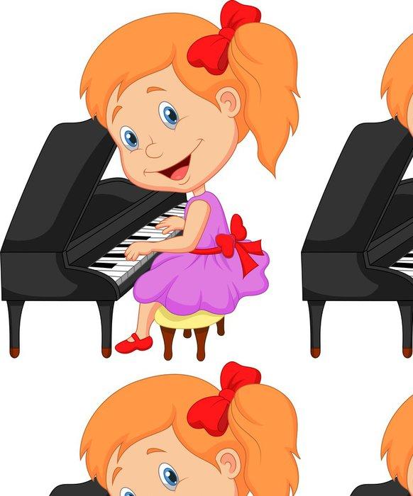 Vinylová Tapeta Roztomilá holčička si hrát na klavír - Nálepka na stěny