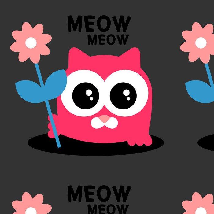 Tapeta Pixerstick Roztomilé dítě kotě s květinovým blahopřání - Savci