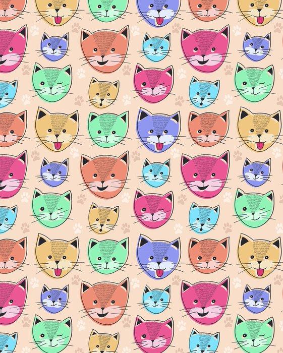 Tapeta Pixerstick Roztomilé kočky bezešvé vzor pro děti - Savci