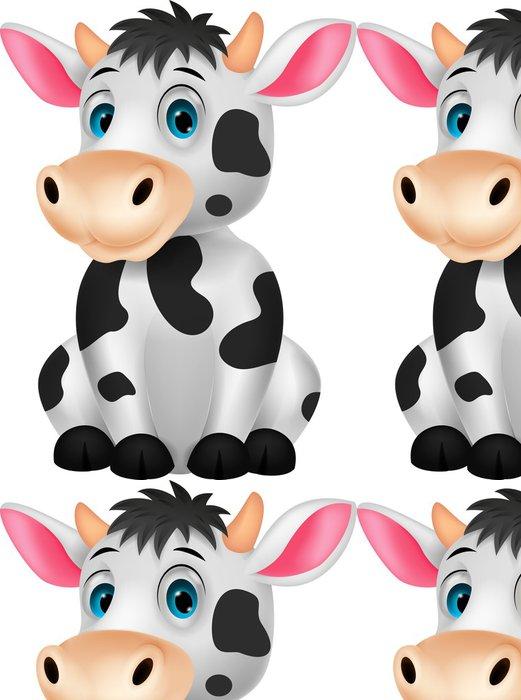 Tapeta Pixerstick Roztomilé kráva kreslená posezení - Nálepka na stěny