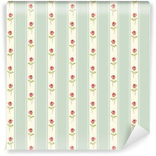 Vinylová Tapeta Roztomilý bezešvé Shabby Chic vzor s růžemi a puntíky ideální pro kuchyňskou textilií nebo ložního prádla textilie, záclony nebo vnitřní tapety design, může být použit pro scrapbooking papír atd