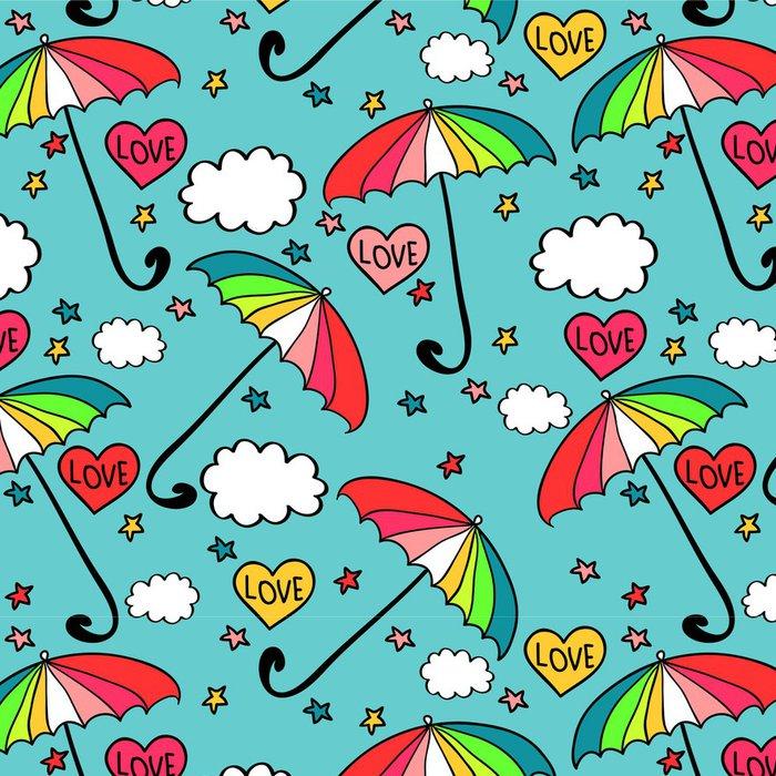 Tapeta Pixerstick Roztomilý bezešvé vzor s barevnými deštníky - Nebe