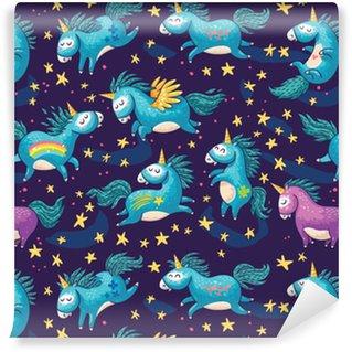 Vinylová Tapeta Roztomilý bezproblémové vzorek s jednorožci na noční obloze
