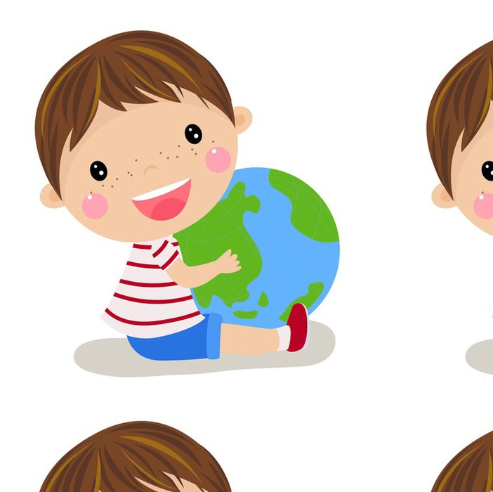 Tapeta Pixerstick Roztomilý chlapec držel po celém světě - Děti