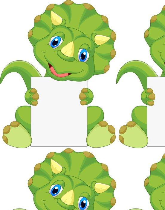 Tapeta Pixerstick Roztomilý dinosaurus karikatura drží prázdný znak - Ostatní Ostatní