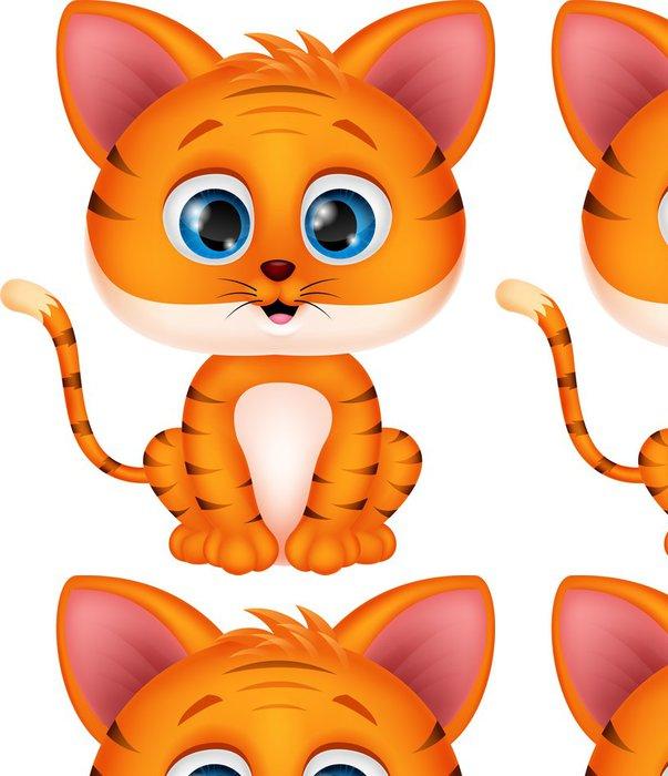 Tapeta Pixerstick Roztomilý kreslený tygr - Savci