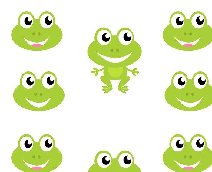 Vinylová Tapeta Roztomilý kreslený zelená žába - ikony izolovaných na bílém. VECTOR - Značky a symboly