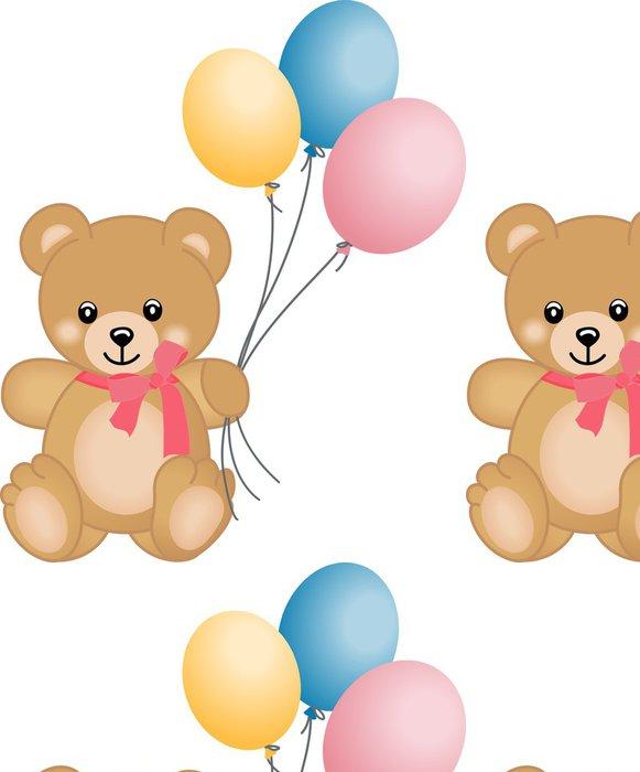Tapeta Pixerstick Roztomilý medvídek létající balóny - Nálepka na stěny
