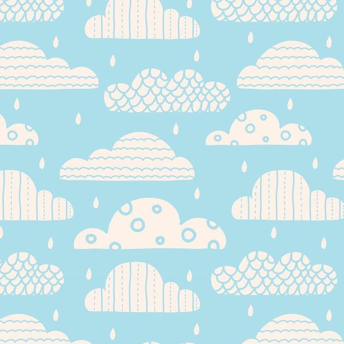 Tapeta Pixerstick Roztomilý mraky. Bezproblémové vzor vektor. - Do dětského pokoje