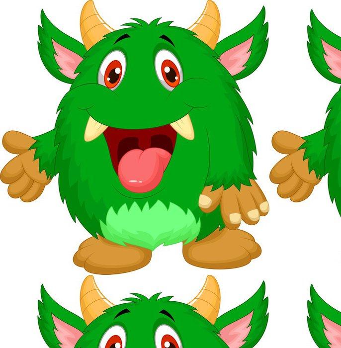 Tapeta Pixerstick Roztomilý zelené monstrum karikatury - Imaginární zvířata