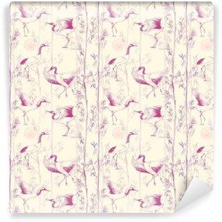 Vinylová Tapeta Ručně kreslený akvarel bezproblémový vzor s bílými japonskými tankovými jeřáby. opakované pozadí s jemnými ptáky a bambusem