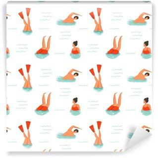 Vinylová Tapeta Ručně kreslený vektor abstraktní kreslený letní čas zábava ilustrace bezešvé vzorek s plaveckými lidmi na bílém pozadí