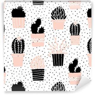 Tapeta Pixerstick Ručně kreslenými Cactus Pattern