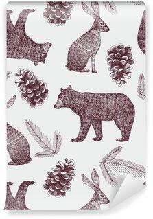 Tapeta Pixerstick Ručně kreslenými zimní trendy seamless background