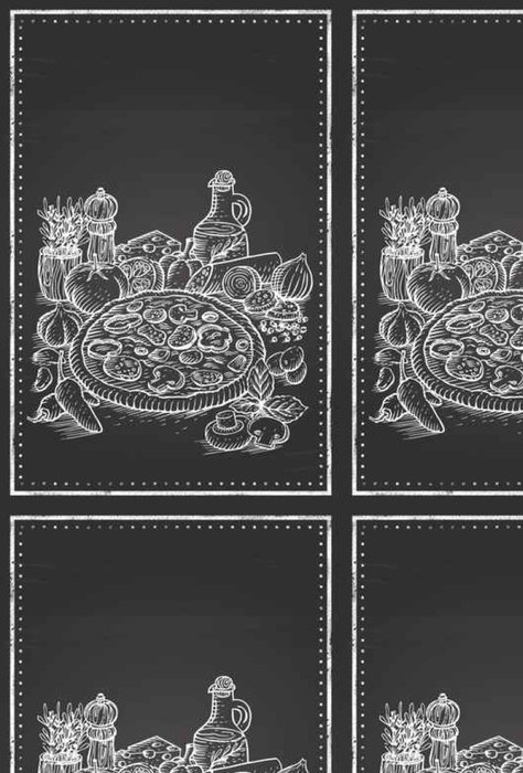 Tapeta Pixerstick Ručně malovaná Pizza a přísady na tabuli - Jídlo