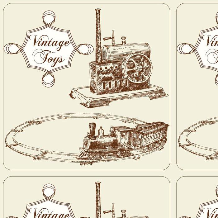 Tapeta Pixerstick Ručně malovaná starožitné hračky - Hry