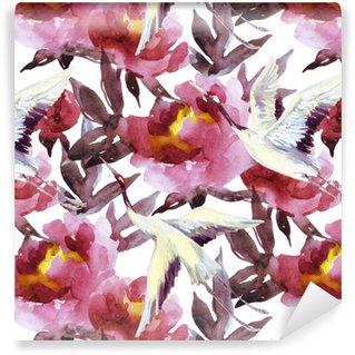 Vinylová Tapeta Ručně malované akvarel pivoňky a jeřábové ptáky
